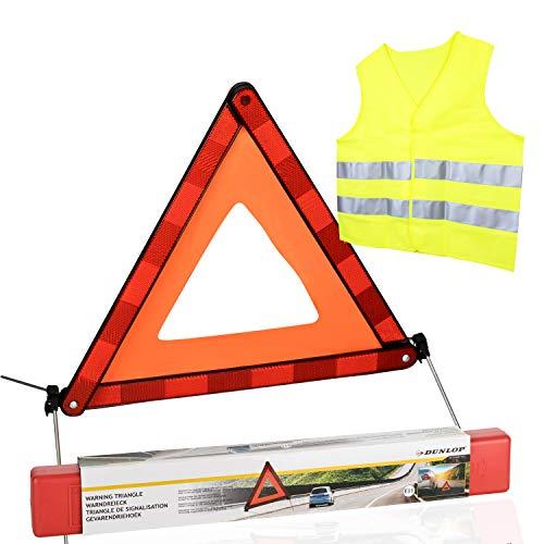 Dunlop Warndreieck E11 in Box und Warnweste gelb EC 0197 | ca. 42 x 42cm | faltbar mit 4 ausklappbaren Metallfüßen | Sicherheit bei Pannen und Unfällen | Schneller Aufbau | Euro-Variante