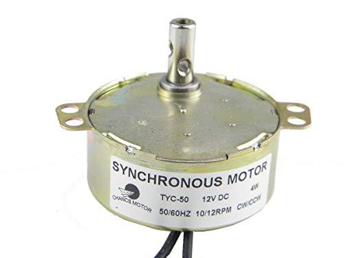 CHANCS Synchron Synchronmotor, Plattenspieler Motor, 12 V DC Ausgerichtet Elektromotor 50/60 Hz 10/12 U/min DC 12V 4W CCW/CW Zum Handgemacht, Schulprojekt, Modell