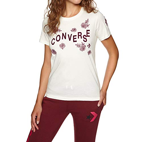 Converse Floral Crew Tee Egret T-Shirt Femme Beige (Egret)