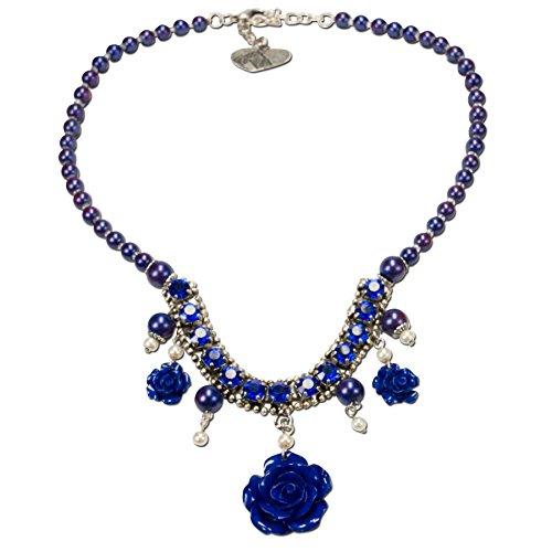Alpenflüstern Blüten-Perlen-Trachtenkette Flora mit Metall-Blumen - eleganter Damen-Trachtenschmuck, Dirndlkette blau DHK156