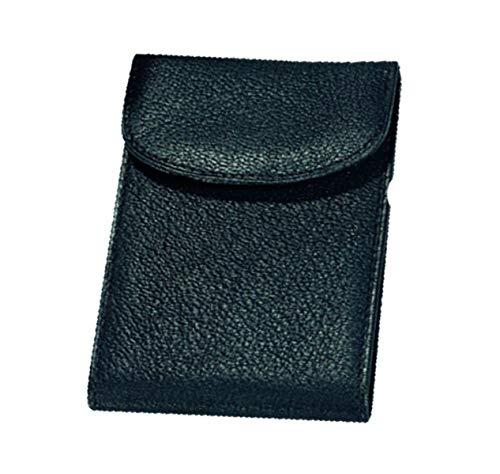 Alassio Kredit - und Visitenkartenetui aus Nappaleder, 10 RFID Document Safe Fächer mit Cryptalloy Folie Visitenkartenhülle, 12 cm, Schwarz