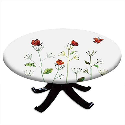 Butterfly Round Fitted Tablecloth, Wildflower Garden with Butterflies Summertime Joy Happiness Theme Artwork, Elastic Edge, Waterproof and wipeable, Fits Tables 48' - 52' Diameter White Red Green