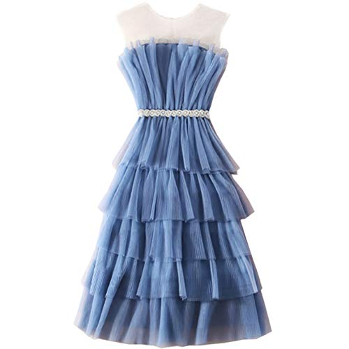 BINGQZ Cocktail Jurken Zomer blauw mouwloos taille perspectief off-the-shoulder laag ruches cake rok kralen mesh jurk fee