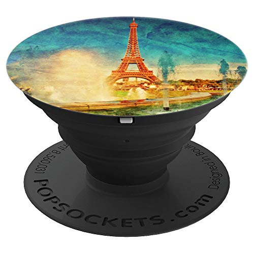 Paris Eiffel Tower Watercolor and Fountains PopSockets Grip and Stand for Phones and Tablets