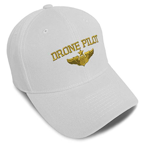 Baseball Cap Drone Pilot Gold Embroidery Acrylic Dad Hats for Men & Women Strap Closure White