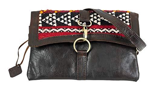 Kelim Leder Handtasche Binoar Amina braun Nature Umhängetasche Ledertasche Damen Vintage Look Naturleder Boho