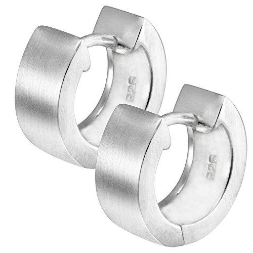 Vinani Klapp-Creolen breit rund mattiert Sterling Silber 925 Ohrringe CRR
