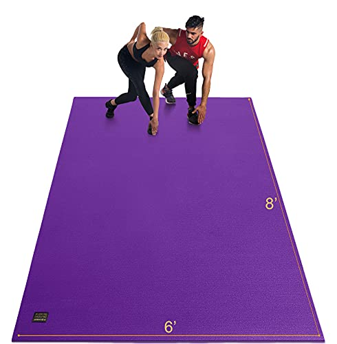GXMMAT Extra Large Exercise Mat 6'x8'x7mm, Thick Workout Mats for Home Gym Flooring, High Density Non-Slip Durable Cardio Mat, Shoe Friendly,Great for Plyo, MMA, JumpRope,Stretch,Fitness