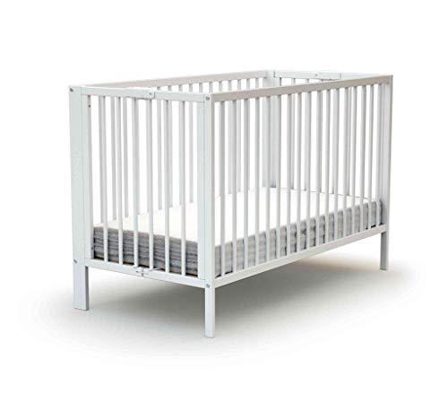 Lit bébé pliant à barreaux laqué blanc 60x120