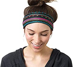 RiptGear Wide Headbands for Women - Workout Headbands for Yoga Running and Gym - Cute Thick Non-Slip Sweatbands - Tribal Black