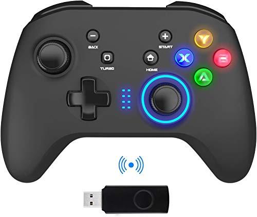 BIMONK Mandos Inalámbricos para PC, Gamepad con Doble Vibración Controlador de Juegos de Computadora para PC con Windows 7/8/10, PS3,/Switch/TV Box/Laptop/Celulares Android - Negro