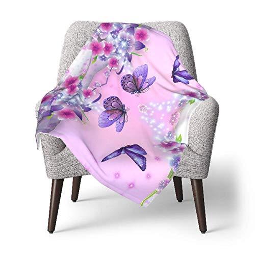 Whale-FALL Purple Butterflies Unisex Baby Plush Recibir Mantas 30 x 40 pulgadas para niños y niñas