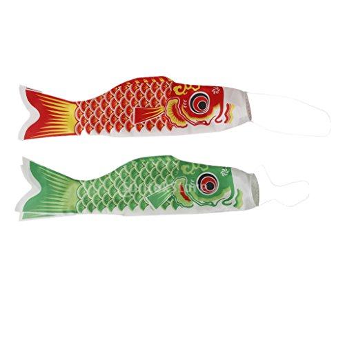 MagiDeal 2pieces 40cm Japanisch Windsock Karpfen Flagge Koi Nobori Koinobori Hanging Flag Fächer Fisch Wind Streamer Rot+Grün