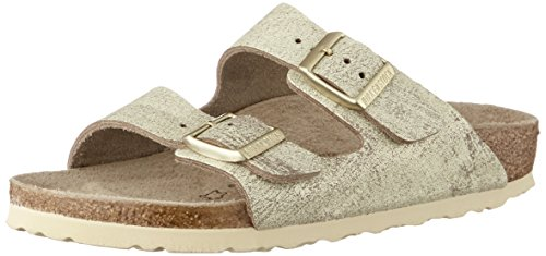 BIRKENSTOCK Damen Arizona Sandalen, Beige (Washed Metallic Cream Gold Washed Metallic Cream Gold), 37 EU