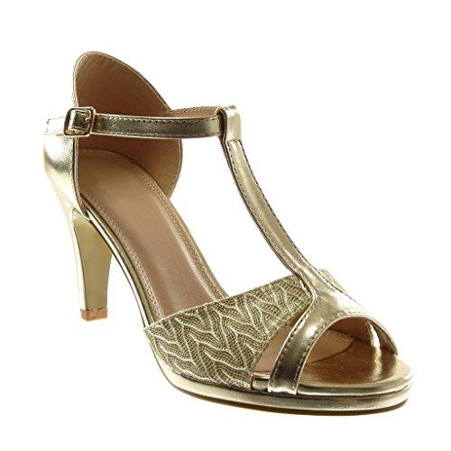 Angkorly - Mode schoenen Pumps Sandaal T-bar Open tenen Vrouw Briljant Kant Naaldhak 8.5 CM - Goud W60 T 38