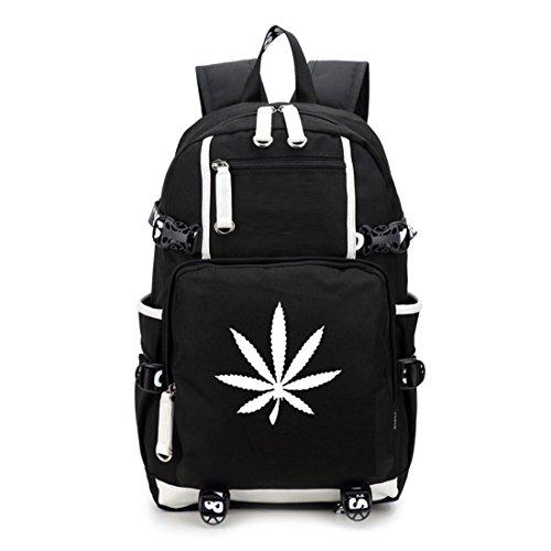 Yoyoshome luminoso marijuana Weed Maple Leaf Cannabis zaino per la scuola, borsa a tracolla 1