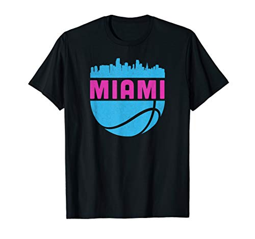Vintage Miami Florida Cityscape Retro Basketball T-Shirt