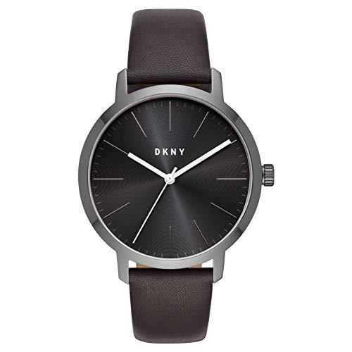 DKNY The Modernist Reloj Analógico de Tres manecillas con Correa de Cuero marrón NY1601