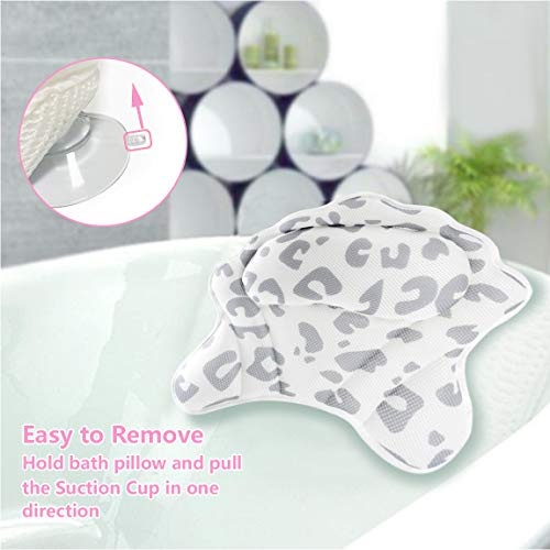 MoKasi Bath Pillow Tub Pillow - Thicker Bathtub Cushion for Head/Shoulder/Neck/Back Support, Ergonomic Jacuzzi Pillow Spa Relaxation Accessories 3D Air Mesh Headrest with Strong Suction Cup