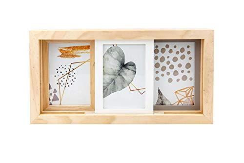 Gallery Solutions 3er Bilderrahmen Collage zum Schieben, Eiche und Mixed, 3X 10x15 cm