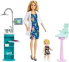 Barbie Diş Doktoru Bebek ve Oyun Seti - Sarı Saçlı, Küçük Bebek Dahil, Lavabo ve Sandalyeli Oyun Seti FXP16