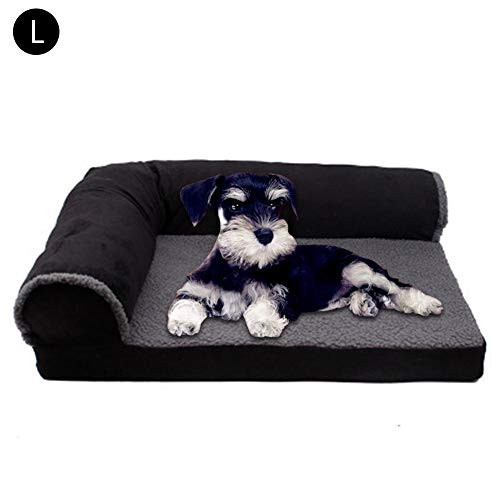 Hondenmand, hondenbed, kussen, bank voor huisdieren en bank voor thuis, wasbare mand voor honden, heaven, gezellig (verschillende maten), L, zwart.