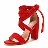 Huiyuzhi Womens Lace Up High Heeled Sandals Chunky Block Ankle Strappy Pumps Dress Party Shoes
