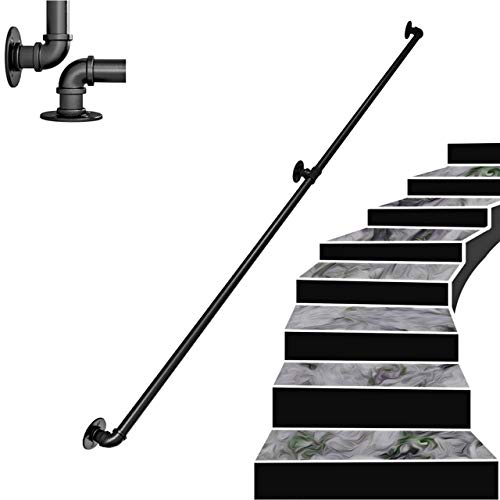 Barandilla de Hierro Forjado de tubería Industrial Negra, barandilla de Escalera Antideslizante de Seguridad para discapacitados Ancianos, Adecuada para inodoros de baño y pasamanos Inter,15ft/450cm