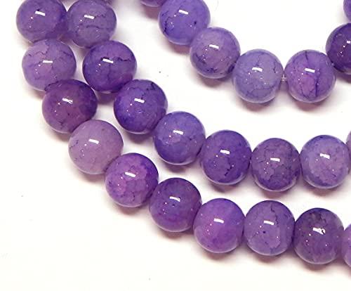 Hilo de piedras preciosas, piedras de ágata, color lila, patrón de dragón, 8 mm, redonda, piedra semipreciosa, piedra natural con agujero para enhebrar para la fabricación de joyas.