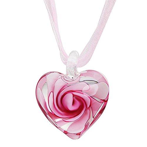 Joyfeel Buy - Vaso de cristal con diseño de flores en forma de corazón para mamá, color rosa