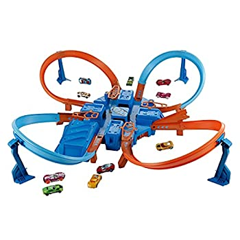 Hot Wheels Criss Cross Crash Motorized Track Set 4 High Speed Crash Zones 4-Way Booster 4 Loops Includes 1 DieCast Vehicle Ages 4 to 10 Years Old