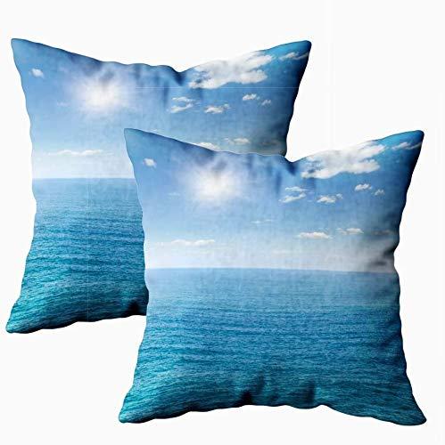 Keyboard cover Butlerame - Funda de almohada de otoño, estándar, 2 juegos de 2 x 45 cm, suave funda de cojín, el mar azul, el cielo con ambos, día de Navidad