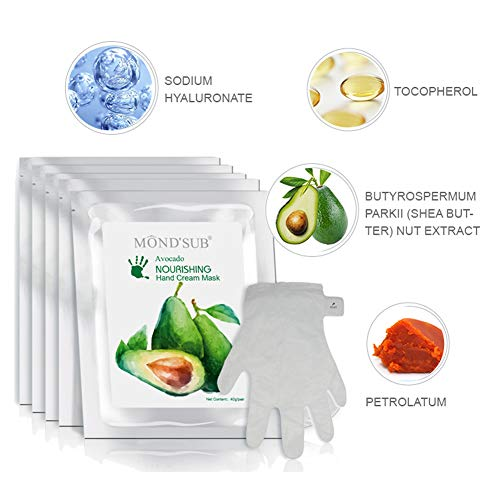 5 Pairs MOND'SUB Avocado Moisturizing Hand Mask | Hydrating Gloves for Dry Hand and Dry Skin | Nourishing & Soothing & Whitening |Best Natural Skin Care Products Full With Natural Oil