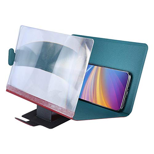 Screen Amplifier, 8''High Definition PU Case, Superior Visual 3D Screen with Stable Stand, Ultra-Thin After Folding+Reduce Eye Strain(Red)