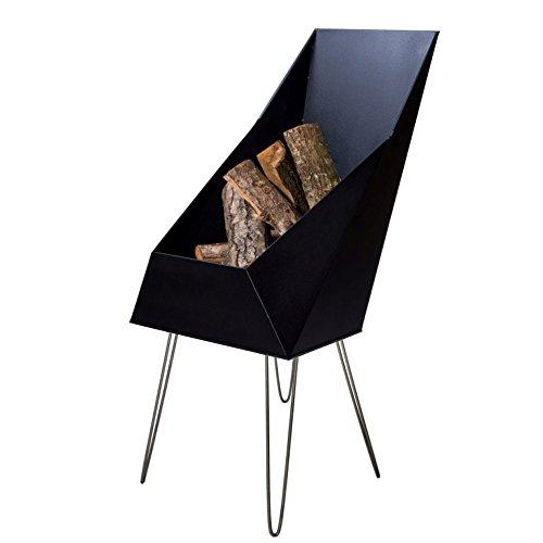 VASNER Merive M4 Feuerkorb Kamin Stahl schwarz, 4 Edelstahl Beine, 50x46x93 cm, modern, eckig, für Terrasse, Garten – Feuerschale, Feuerstelle