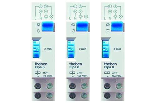 Theben 0080002 ELPA 8 - Minutero de escalera - carril DIN - electromecáncio - temporizador - paquete de 3