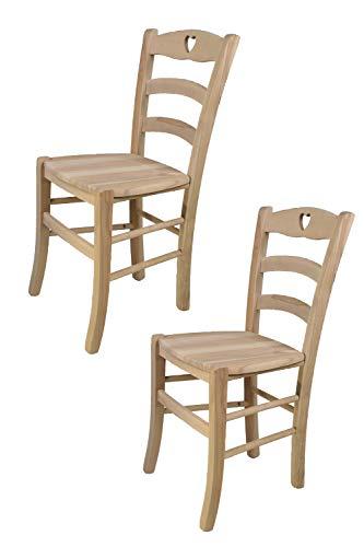 Tommychairs - 2er Set Stühle CUORE für Küche und Esszimmer, robuste Struktur aus poliertem Buchenholz, unbehandelt und 100% natürlich, Sitzfläche aus poliertem Holz