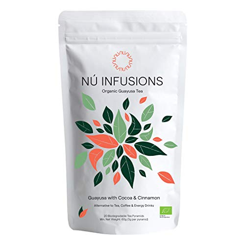 Organic Guayusa Tea (with Cocoa and Cinnamon) - Amazonian Herbal Tea with Slow-Release Caffeine for Sustained Focus & Energy - Certified Organic Tea - 20 Biodegradable Tea Bags by Nú Infusions