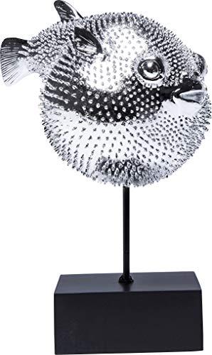 Kare Design Dekofigur Blowfish, silbernes Accessoire in Form eines Kugelfisches, auffällige und niedliche Dekoration Figur in Chrom, (H/B/T) 29 x 24 x 16 cm, Silber