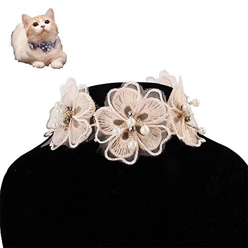 Kätzchenkragen Katzen-Spitze-Blumen-Halskette justierbarer Haustier Schmuck Hund Katze Spitze-Blumen-Kragen-Haustier-Dekoration-Licht-Kragen, Größe: L (Color : Pink)