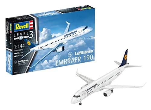 Revell Modellbausatz Flugzeug 1:144 - Embraer 190 Lufthansa Regional im Maßstab 1:144, Level 3, originalgetreue Nachbildung mit vielen Details, Zivilflugzeug, Passagierflugzeug, 03937