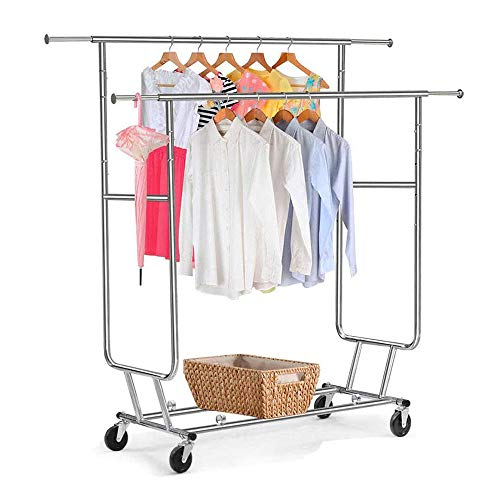300 Lbs Heavy Duty - Adjustable Rolling Clothing Garment Rack Commercial Grade Steel Extendable Hanger Drying Organizer Chrome Finish Storage Shelf With Wheels Suitable Bedroom Balcony Yard Or Shopp