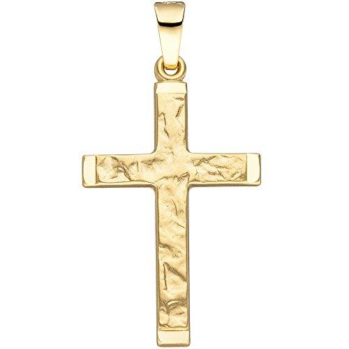 JOBO Anhänger Kreuz 585 Gold Gelbgold gehämmert Goldanhänger Goldkreuz Kreuzanhänger