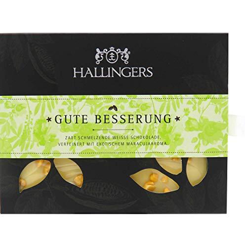 Hallingers Weiße Schokolade mit Maracuja hand-geschöpft (90g) - Gute Besserung (Tafel-Karton) - zu Passt immer