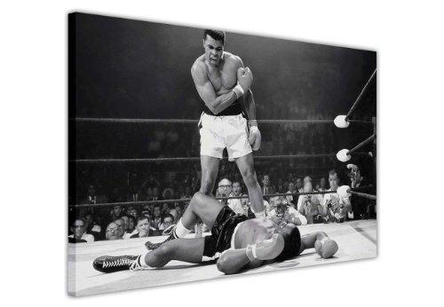 Kunstdruck in Schwarz/Weiß auf Leinwand, Wandkunst, Bilder vonLegenden, ikonisch, Muhammad Ali Knockout KO Druck, Raum-Dekoration, Nostalgie, Box-Champions, canvas holz, schwarz / weiß, 9- A0 - 40