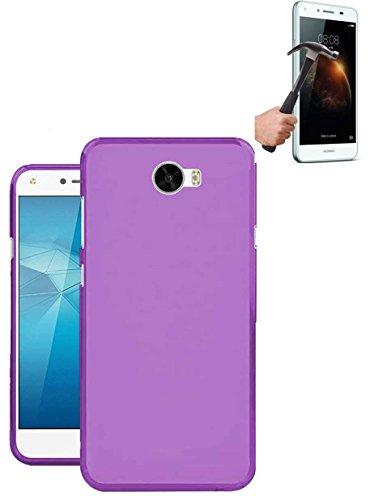 Todobarato24h Funda TPU Lisa Compatible con Huawei Y6 II Compact / Y5 II 2016 Morada + Protector DE Cristal Templado