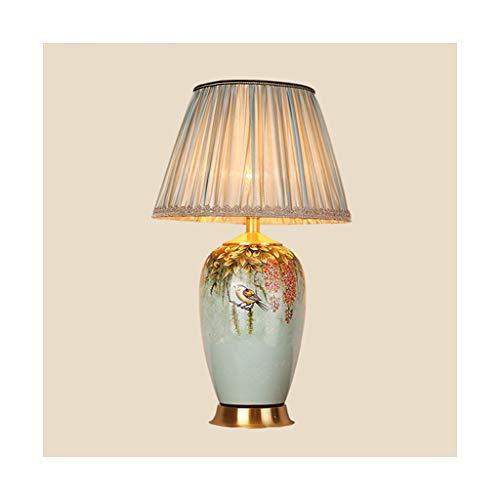 WFL-lámpara de escritorio Lámpara de mesa rural cobre del estilo de la tela de mesa de cerámica Estudio dormitorio de la lámpara lámpara de cabecera de la sala del hotel lámpara decorativa Lámpara de