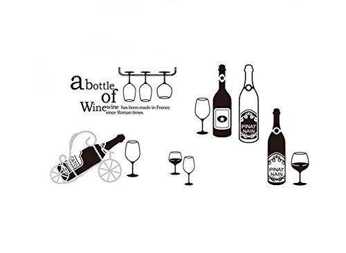 Dosige Wandstickers, decoratief, voor kinderkamer, wandsticker, voor keuken, slaapkamer, wandsticker, decoratie voor dranken, zomer, rode wijn, zwart, 60 x 90 cm