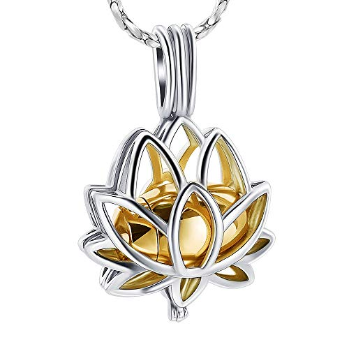 Imrsanl Cremation Jewelry for Ashes - Lotus Flower Ashes Pendant Necklace with Mini Keepsake Urn Memorial Ash Jewelry (Gold)