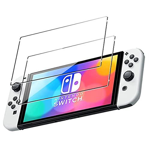 ELYCO [2 Piezas] Protector de Pantalla para Nintendo Switch OLED, [Alta Definicion] 9H Dureza Anti-Caída/Anti-Rasguños Sin Burbujas Cristal Templado Vidrio Templado para Nintendo Switch OLED
